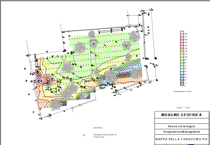 Example of electromagnetic surveys mapping in archaeological site