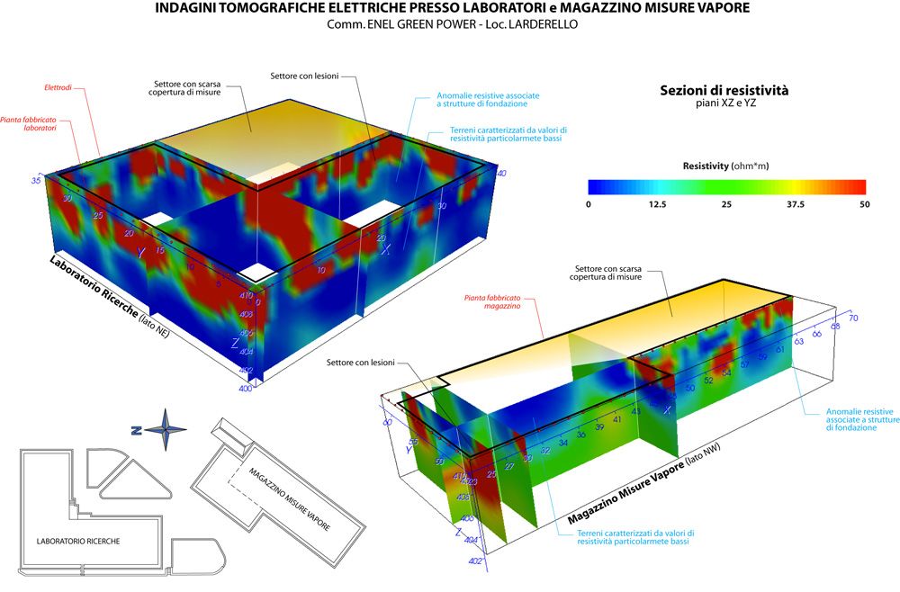 Example of electrical 3D survey. Larderello Italy. Sping 2014